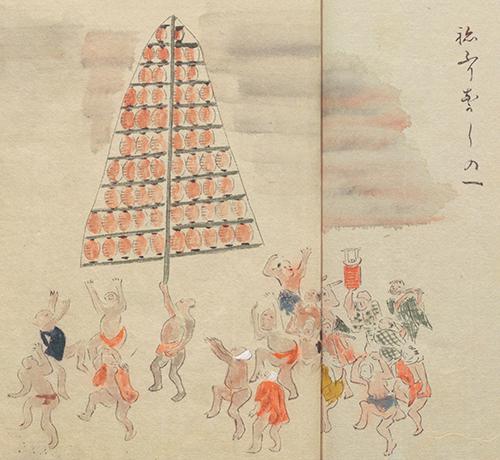 江戸時代の竿燈のようす