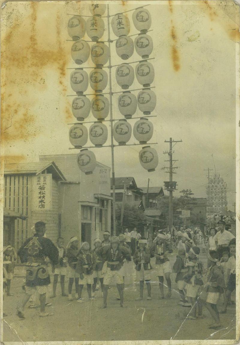 昭和20年代の上米町一丁目竿燈会の小若のようす